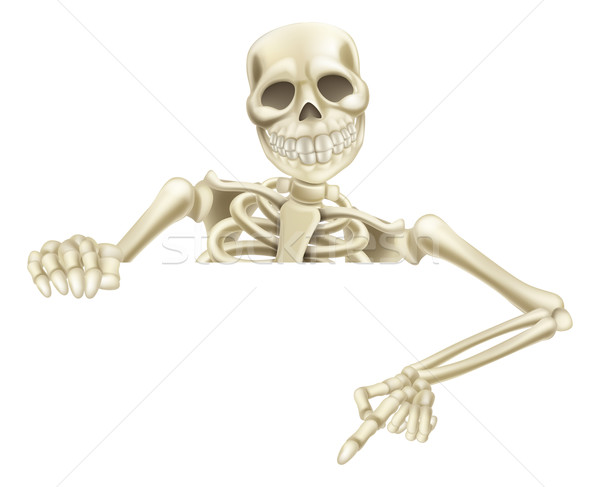 Halloween Skeleton Pointing Down Stock photo © Krisdog