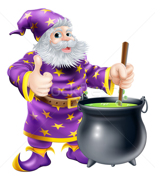 Wizard stirring cauldron Stock photo © Krisdog