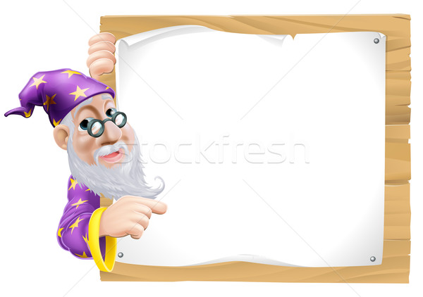 Sign Cartoon Wizard Stock photo © Krisdog