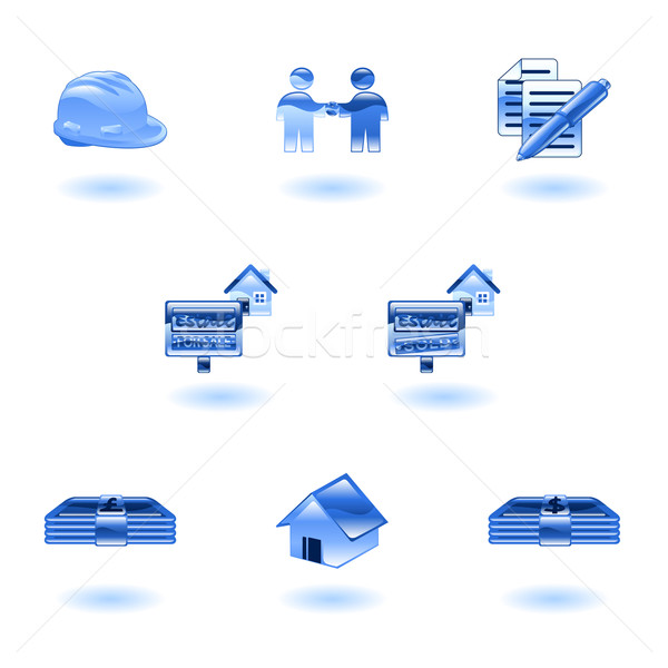 Shiny Real Estate Icons Stock photo © Krisdog