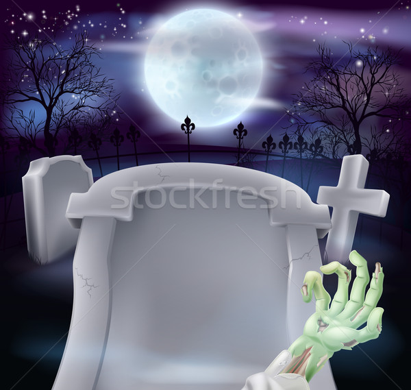 Grave halloween zumbi braço lápide cemitério Foto stock © Krisdog