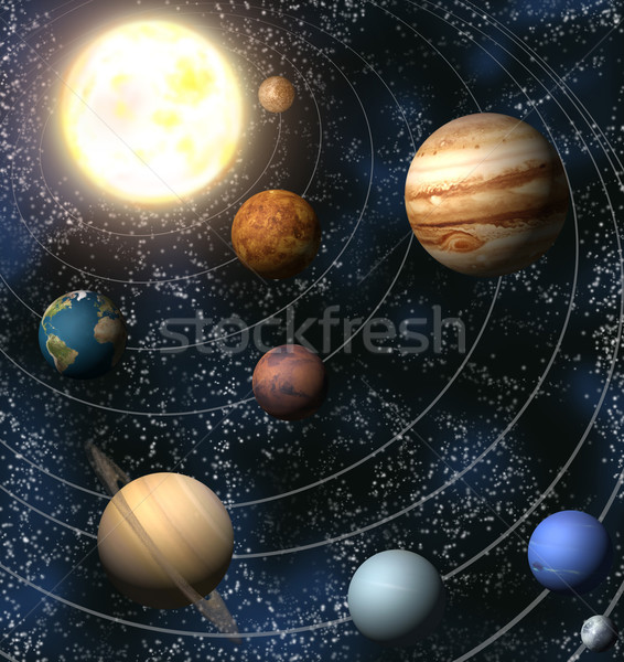 Sistema solar ilustración mapas sol luz ciencia Foto stock © Krisdog
