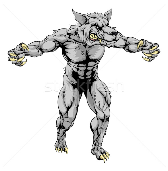 Werewolf wolf scary sports mascot Stock photo © Krisdog