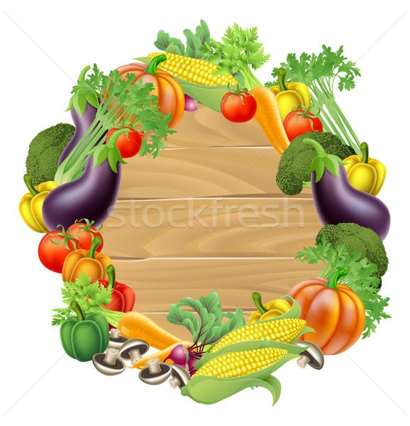 Vegetables Wooden Sign Stock photo © Krisdog