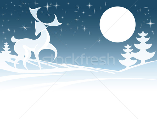 Winter Deer Illustration Stock photo © Krisdog