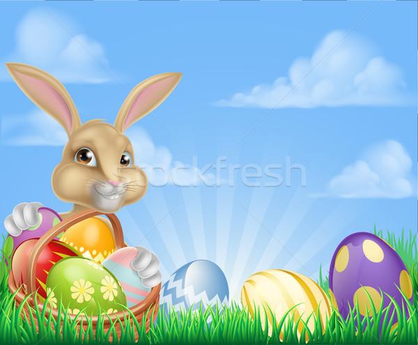 Húsvéti nyuszi jelenet húsvét kosár tele díszített Stock fotó © Krisdog