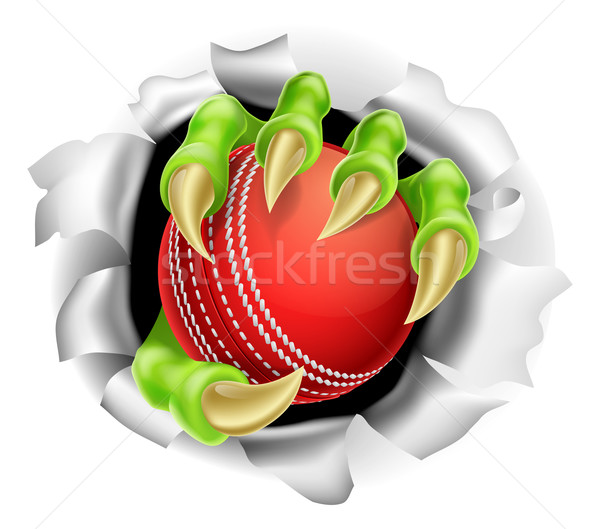Claw with Cricket Ball Breaking out Of Background Stock photo © Krisdog