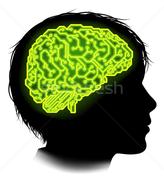 Elektryczne obwodu mózgu dziecko sylwetka młody chłopak Zdjęcia stock © Krisdog