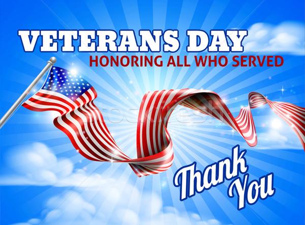Nap amerikai zászló égbolt szalag terv zászló Stock fotó © Krisdog
