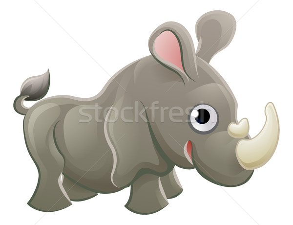 Rhino Animal Cartoon Character Stock photo © Krisdog