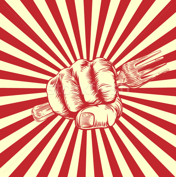 Fork Woodcut Propaganda Fist Hand Stock photo © Krisdog