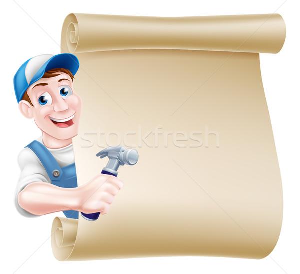 Cartoon Carpenter Scroll Stock photo © Krisdog