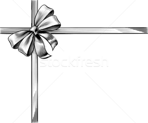 Gift Ribbon Bow Vintage Woodcut Engraved Etching Stock photo © Krisdog