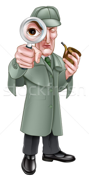 Cartoon Sherlock Holmes Detective Stock photo © Krisdog