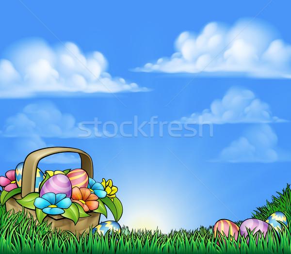 Easter Eggs Basket Background Stock photo © Krisdog