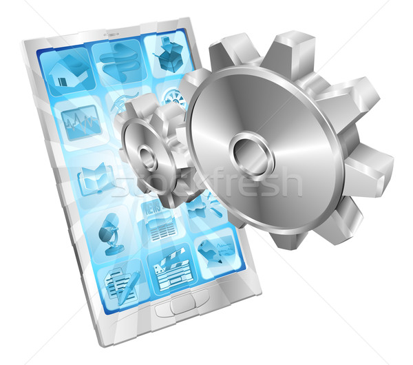Gear cogs flying out of phone screen concept Stock photo © Krisdog