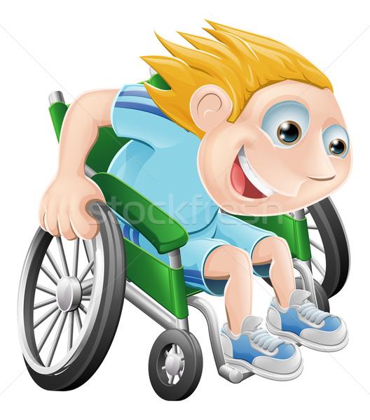 коляске Racing Cartoon человека иллюстрация Сток-фото © Krisdog