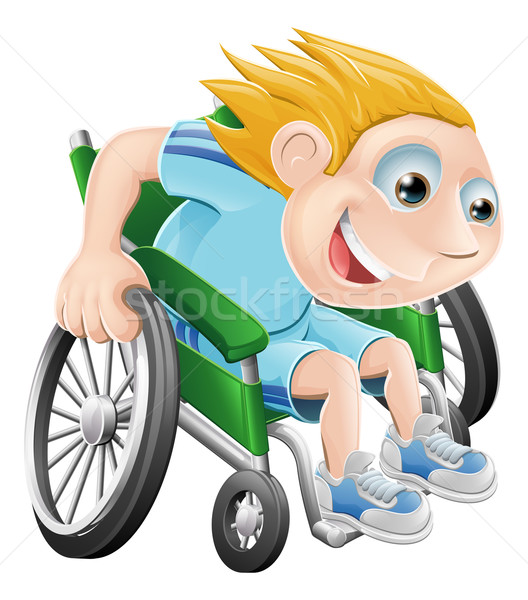 Rolstoel racing cartoon man illustratie Stockfoto © Krisdog