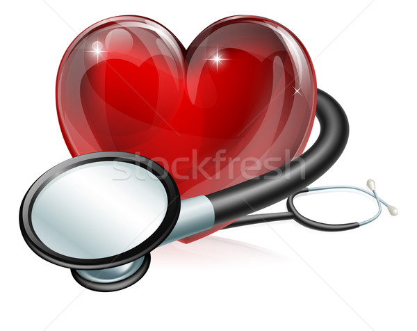 Heart symbol and stethoscope Stock photo © Krisdog