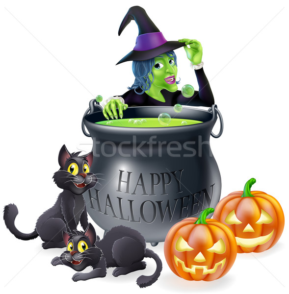 Halloween Cartoon Witch Scene Stock photo © Krisdog