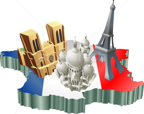 Fransız turizm örnek turist Fransa harita Stok fotoğraf © Krisdog