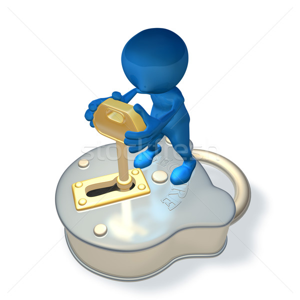 3d character with padlock and key Stock photo © Krisdog