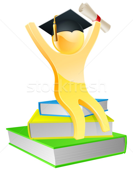 Stock photo: Graduate on books with scroll