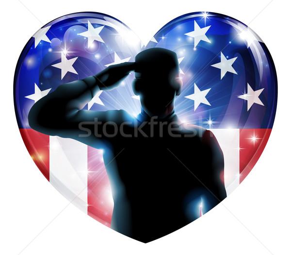 Nap katona negyedike illusztráció szív alak amerikai zászló Stock fotó © Krisdog