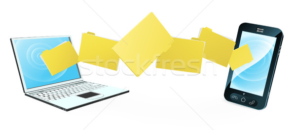 Laptop phone file transfer Stock photo © Krisdog