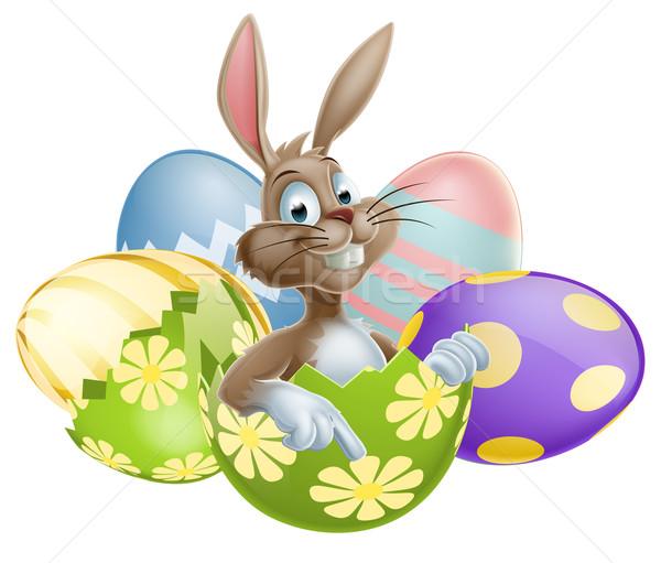 Bunny with Easter Eggs Stock photo © Krisdog