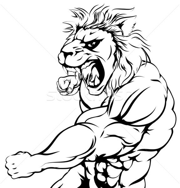 Tiger character punching Stock photo © Krisdog