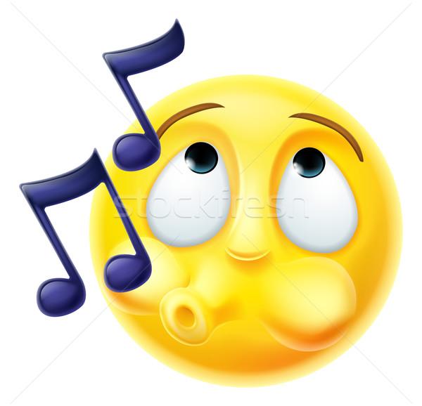 Emoticon melodía felizmente Cartoon carácter cara Foto stock © Krisdog
