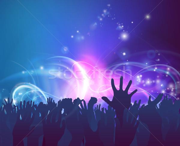 празднования вечеринка толпа народов руки вверх силуэта Сток-фото © Krisdog