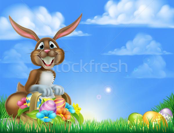 Karikatür easter egg hunt tavşan Paskalya sahne easter bunny Stok fotoğraf © Krisdog
