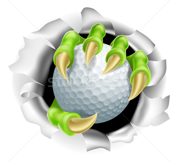 Claw with Golf Ball Breaking out Of Background Stock photo © Krisdog