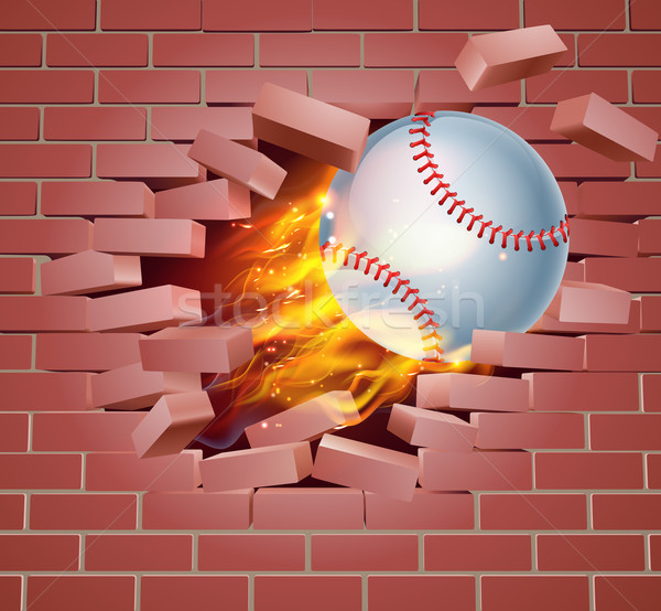 Yanan beysbol top tuğla duvar örnek yanan Stok fotoğraf © Krisdog