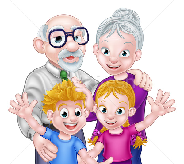 Gyerekek nagyszülők család jelenet nő gyerekek Stock fotó © Krisdog