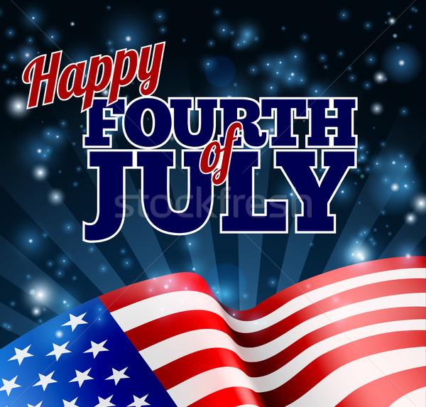 Amerikan bayrağı dördüncü gün mutlu soyut dizayn Stok fotoğraf © Krisdog