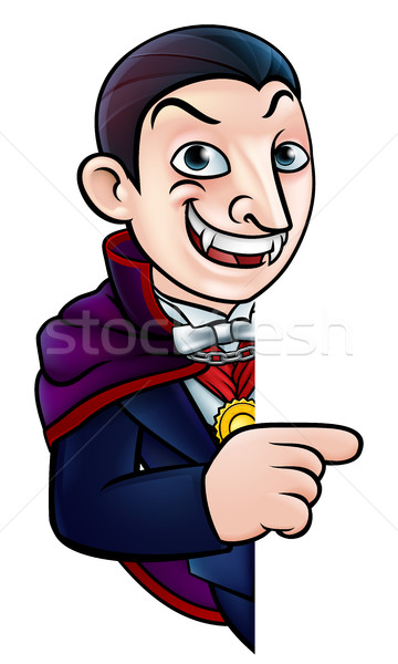Cartoon Halloween Vampire Pointing at Sign Stock photo © Krisdog