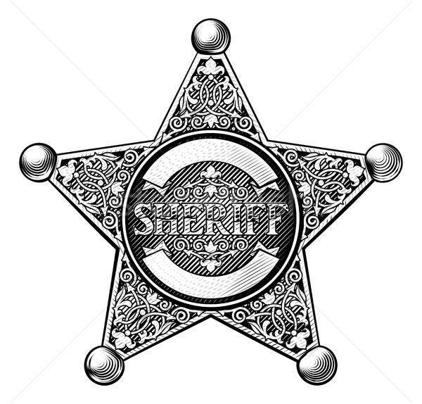 Cowboy sheriff csillag kitűző klasszikus gravírozott Stock fotó © Krisdog