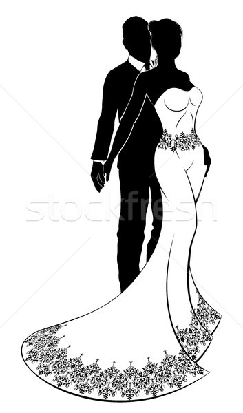 Silhouette Bride and Groom Wedding Couple  Stock photo © Krisdog