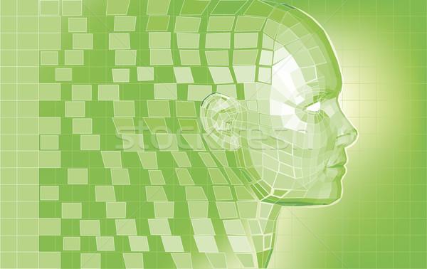 Stockfoto: Futuristische · avatar · veelhoek · 3D · hoofd