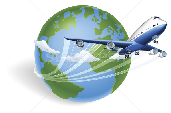 Airplane globe concept Stock photo © Krisdog