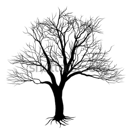 Arbre silhouette illustration effrayant noir Photo stock © Krisdog