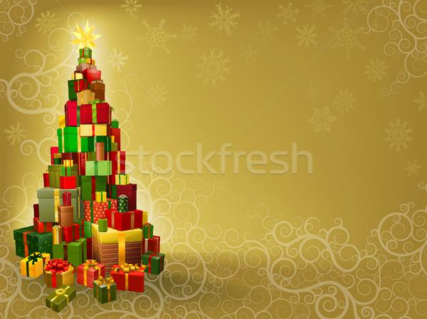 Foto stock: Natal · presentes · árvore · forma · estrela