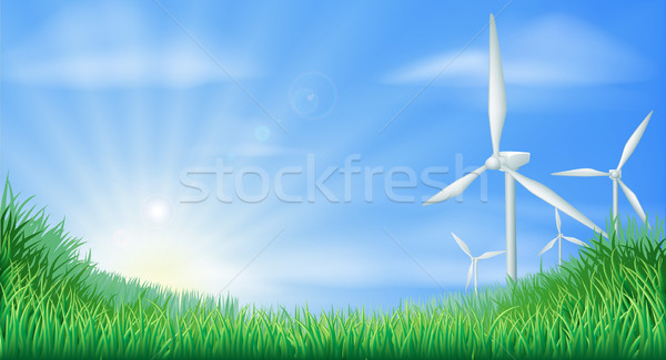 Wind turbines landscape illustration  Stock photo © Krisdog