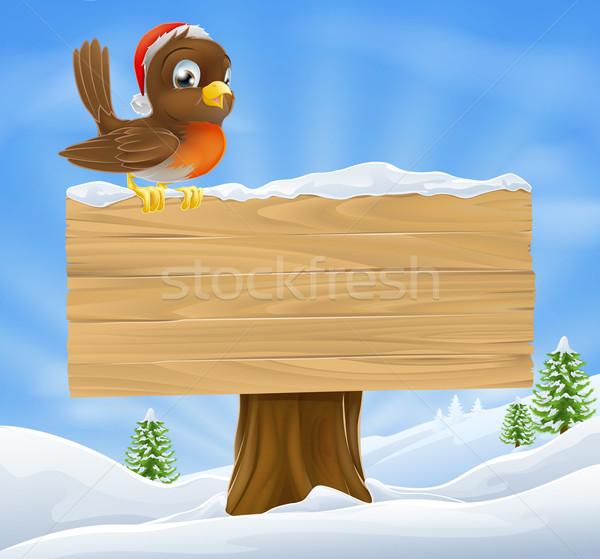 Christmas robin sign background Stock photo © Krisdog