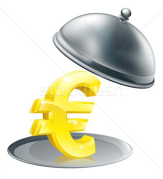 Euro on silver platter concept Stock photo © Krisdog