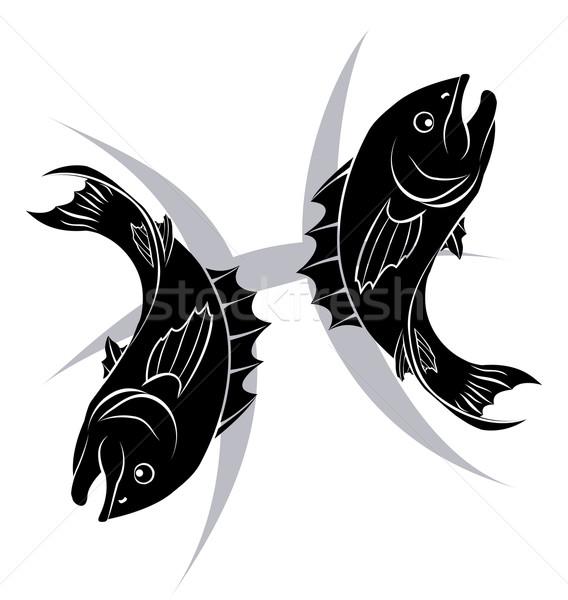 Zodiac horoscope astrologie signe illustration poissons Photo stock © Krisdog