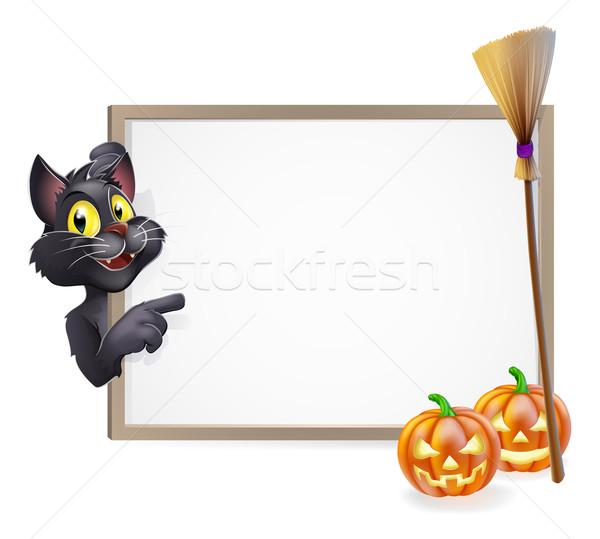 Witch Cat Halloween Sign Stock photo © Krisdog
